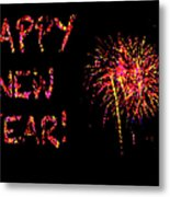 Fireworks Happy New Year In Pink Metal Print by Marianne Campolongo