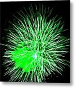 Fireworks In Green Metal Print