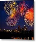 Fireworks In The City Metal Print