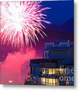 Fireworks In The City Metal Print by Nancy Harrison