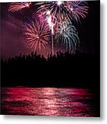 Fireworks In The Country - Pink Metal Print by Justin Martinez