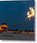 Fireworks On Ther Beach Metal Print