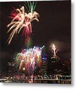 fireworks over Brisbane Metal Print