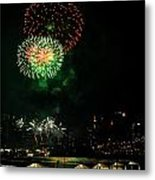 Fireworks Over Brooklyn Bridge And New York City Metal Print