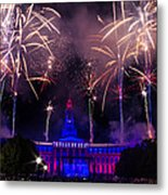 Fireworks Over Denver City And County Building Metal Print by Teri Virbickis