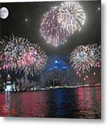 Fireworks Over Detroit Metal Print