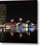 Fireworks Over Downtown Baltimore Metal Print