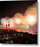 Fireworks Over Kuwait City Metal Print