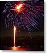 Fireworks Over Lake Metal Print by Raymond Earley