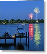 Fireworks Over Stony Creek Metal Print by Brian Wallace