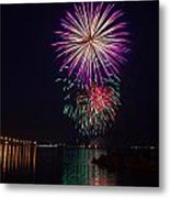 Fireworks Over The York River Metal Print by James Drake