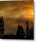 Firey Sunset Over Grants Pass Metal Print