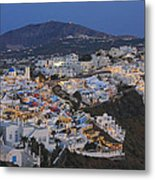 Firostefani At Night Santorini Cyclades Greece  Metal Print