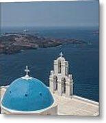 Firostefani Church On Santorini Metal Print