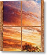 First Dawn Barn Wood Picture Window Frame View Metal Print