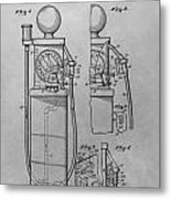 First Gas Pump Patent Drawing Metal Print