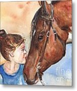 Horse Painting Of Paint Horse And Girl First Kiss Metal Print