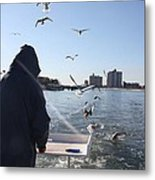 First Mate Filleting With Some Friends Metal Print