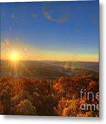 First Morning Light Striking Top Of Trees Metal Print