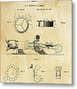 First True Motion Picture Projector Patent  1897 Metal Print