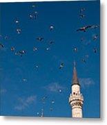 Firuz Aga Mosque Seagulls Metal Print
