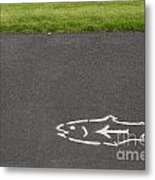 Fish And Arrow On Pavement Metal Print
