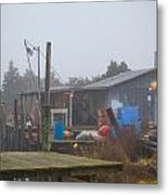 Fish House In Fog Metal Print