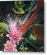 Fish In The Lily Pond Metal Print