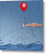 Fish Taking A Refreshing Dip Metal Print