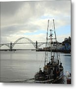 Fisherman At Newport Bay In Oregon II Metal Print