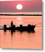 Fisherman At Sunrise Apalachicola Bay Florida  Metal Print by Bill Swindaman