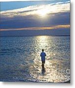 Fisherman At Sunrise Metal Print by Diane Diederich