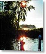 Fisherman In Sunfire Metal Print by Judy Via-Wolff