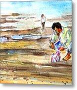 Fisherman On Las Canteras Beach Metal Print
