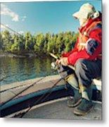 Fisherman Sitting On Foredeck Metal Print