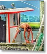 Fisherman Working On His Boat Metal Print