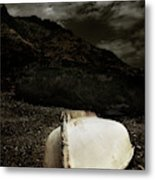 Fishermans Boat Parked On The Beach Metal Print