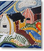 Fishermans Cottages String Collage Metal Print
