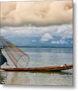 Fishermen In The Inle Lake. Myanmar Metal Print