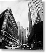 Fisheye Shot Of Yellow Cab On Intersection Of Broadway And 35th Street At Herald Square New York Metal Print by Joe Fox