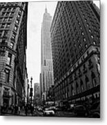 fisheye shot View of the empire state building from West 34th Street and Broadway junction Metal Print