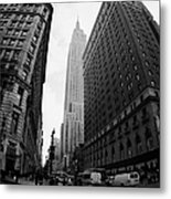 fisheye shot View of the empire state building from West 34th Street and Broadway new york usa Metal Print