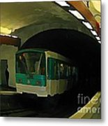 Fisheye View Of Paris Subway Train Metal Print