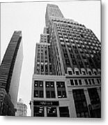 fisheye view of the Nelson Tower and 1 penn plaza in the background from junction of 34th street and Metal Print