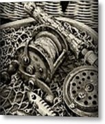 Fishing - All That Gear In Black And White Metal Print