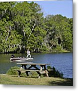 Fishing At Ponce De Leon Springs Fl Metal Print