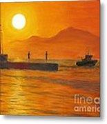 Fishing At Sunset Metal Print