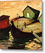 Fishing Barges On The River Sugovica Metal Print