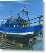 Fishing Boart Repairs Essaouira Morocco Metal Print by Richard Harpum
