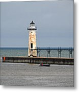 Fishing Boat And Lighthouse Metal Print